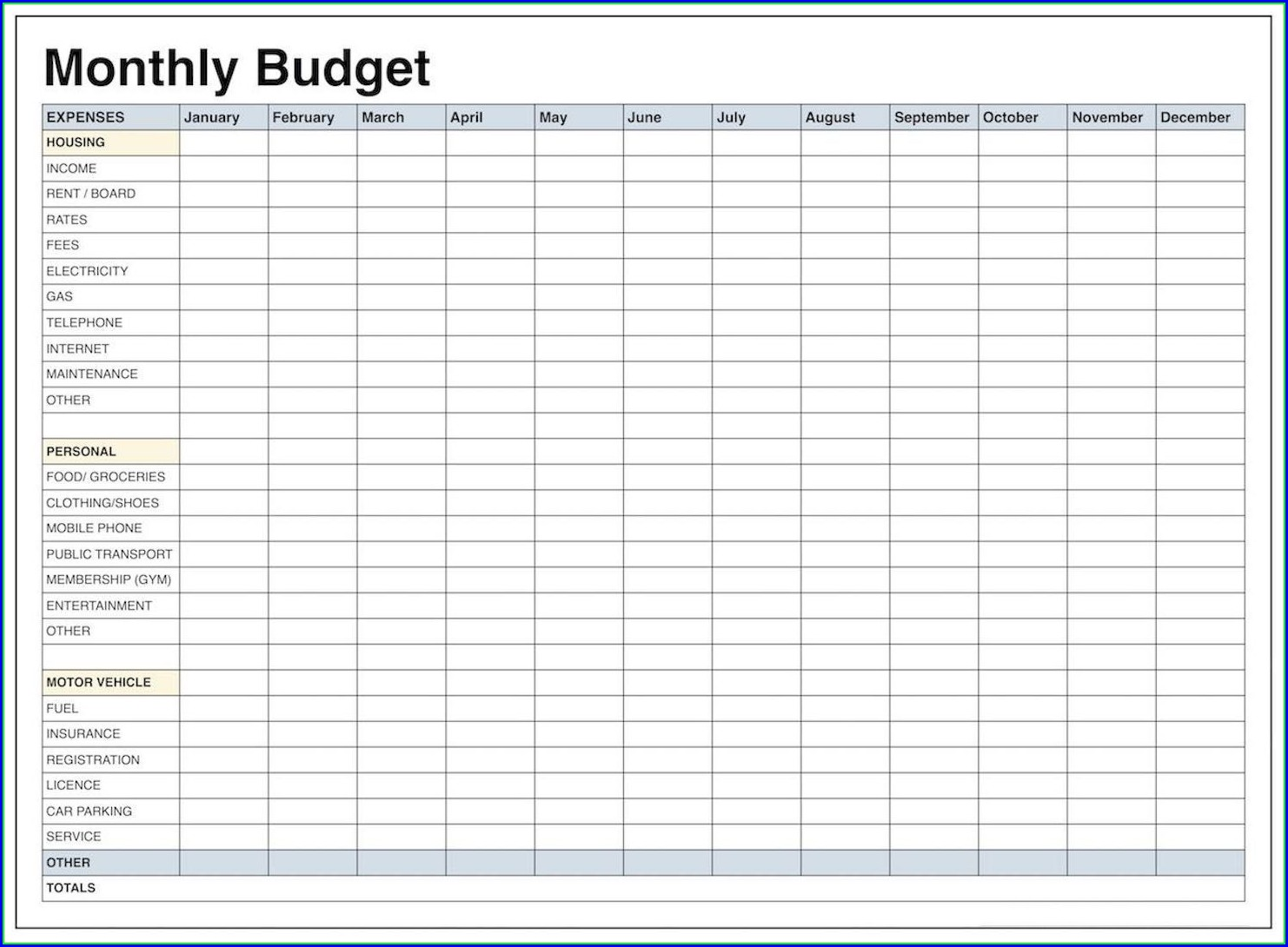 Monthly Expense Blank Budget Worksheet Printable