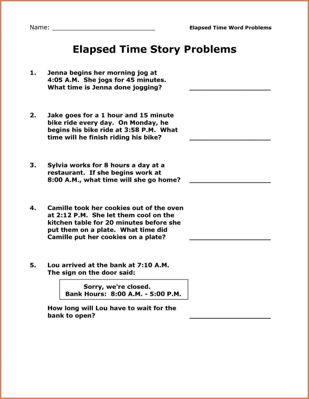 medium resolution of Finding Elapsed Time Worksheet   Printable Worksheets and Activities for  Teachers