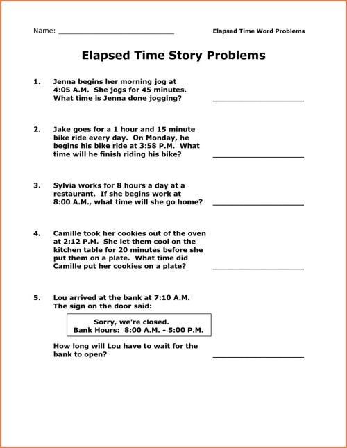 small resolution of Finding Elapsed Time Worksheet   Printable Worksheets and Activities for  Teachers