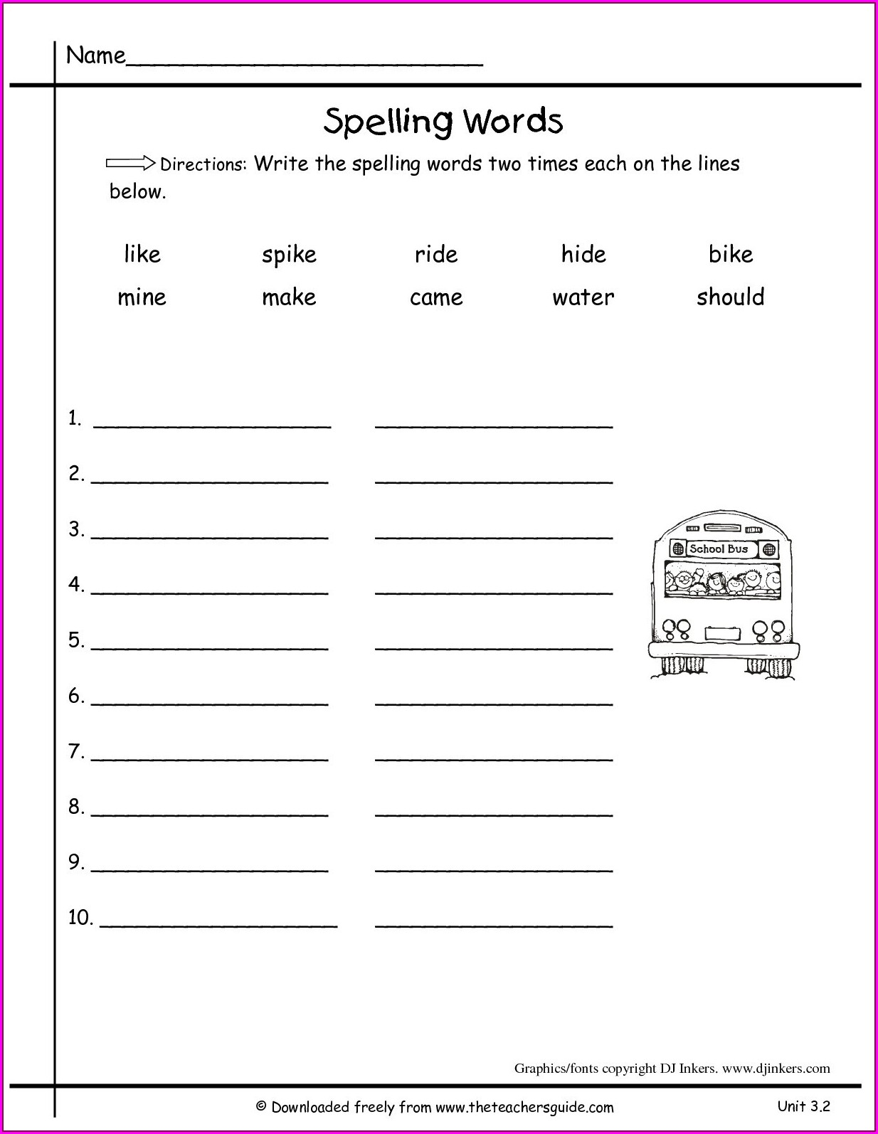 First Grade Spelling Words Worksheets