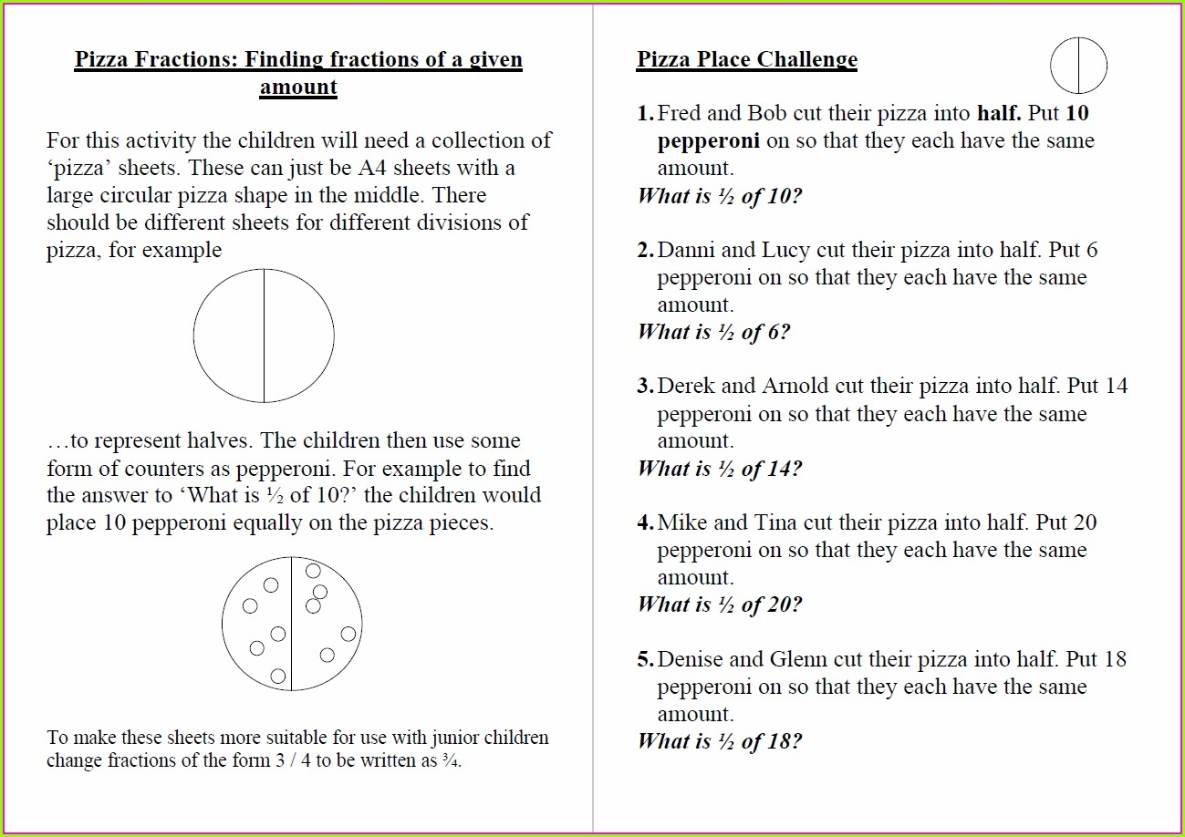Year 4 Fractions Of Amounts Worksheet