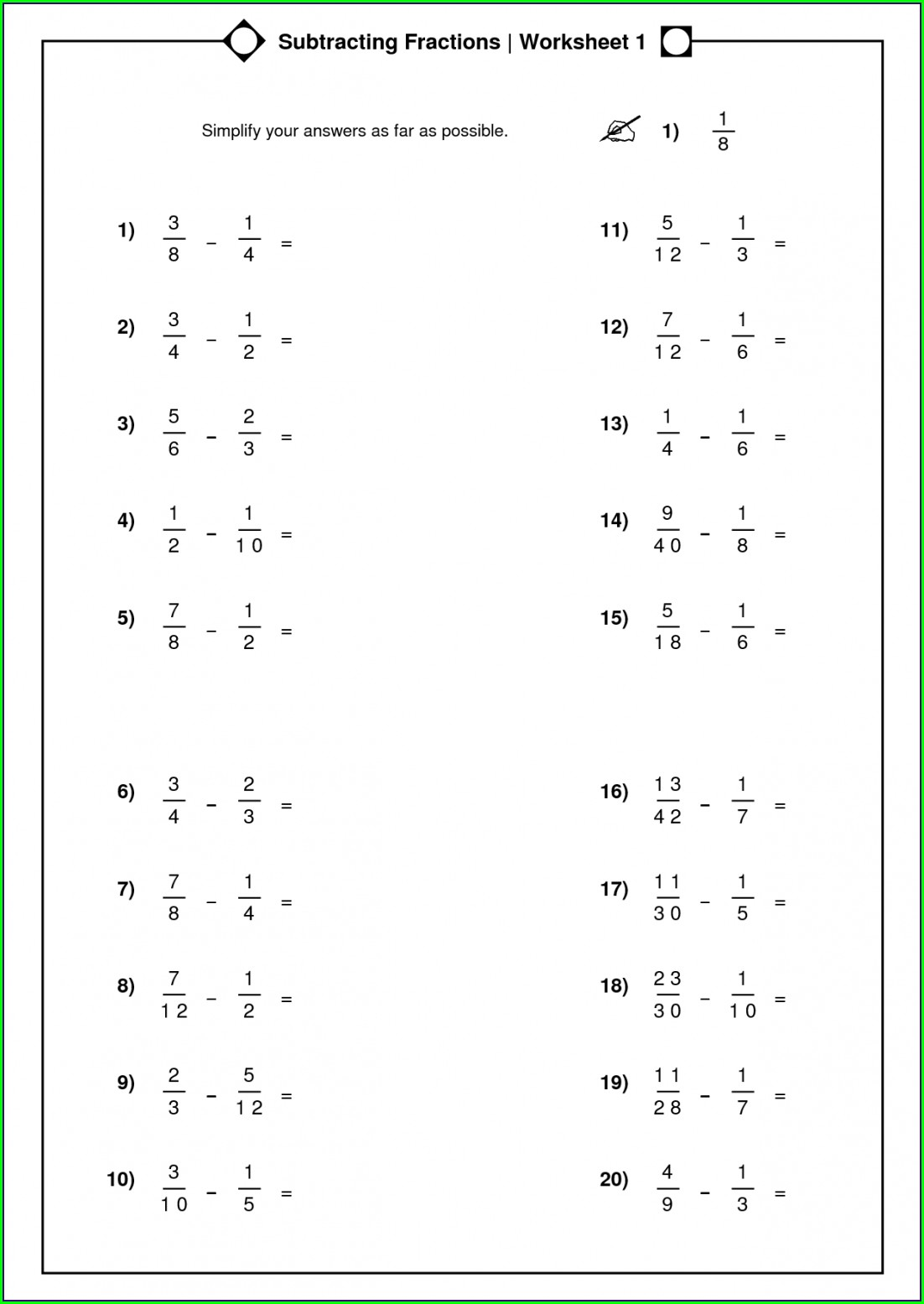 Year 3 Comparing Fractions Worksheet