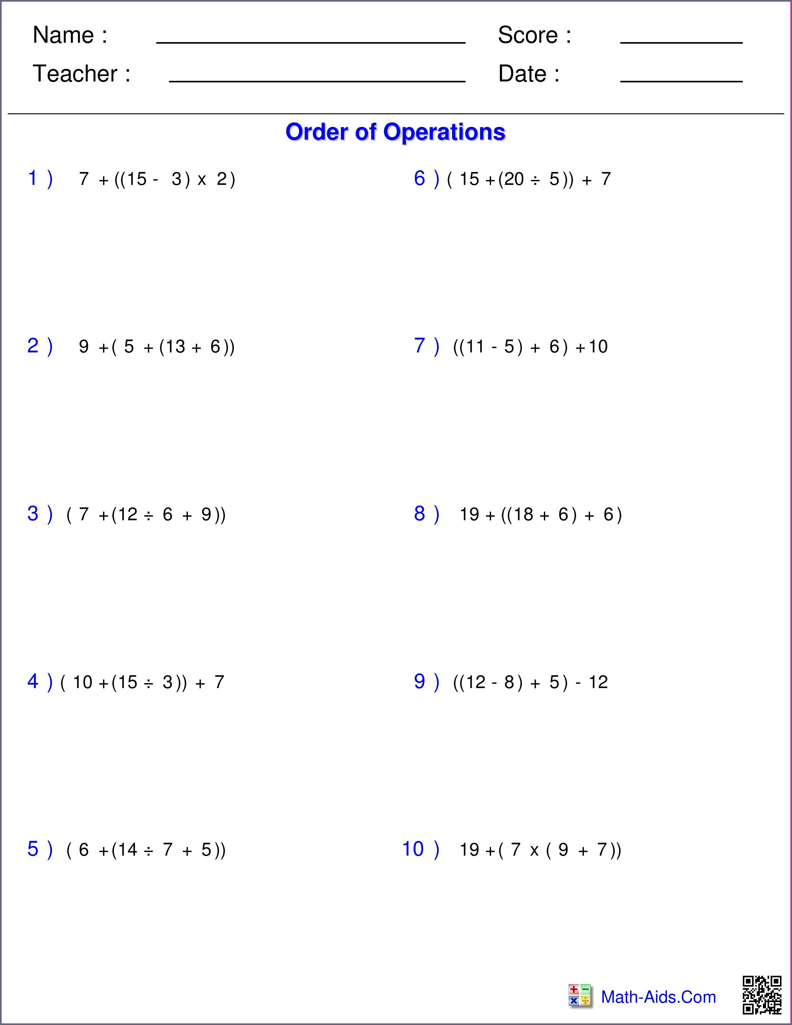 5th Grade Order Of Operations With Exponents Worksheet