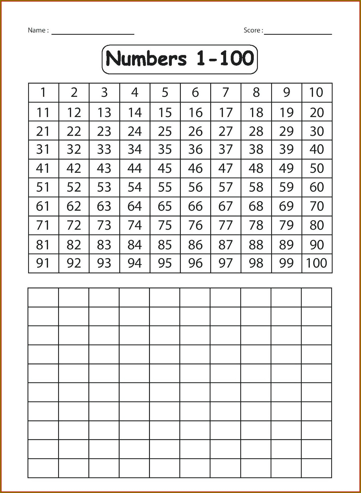 Ordinal Numbers 1 To 100 Worksheet
