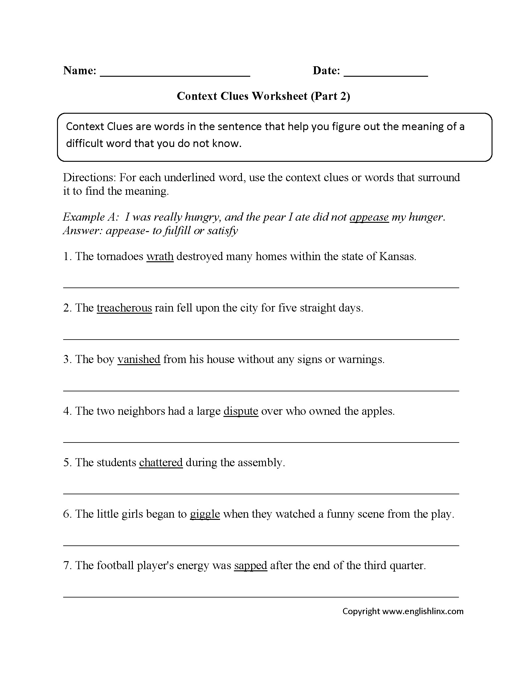 2nd Grade 3rd Grade 2nd Grade Context Clues Worksheets