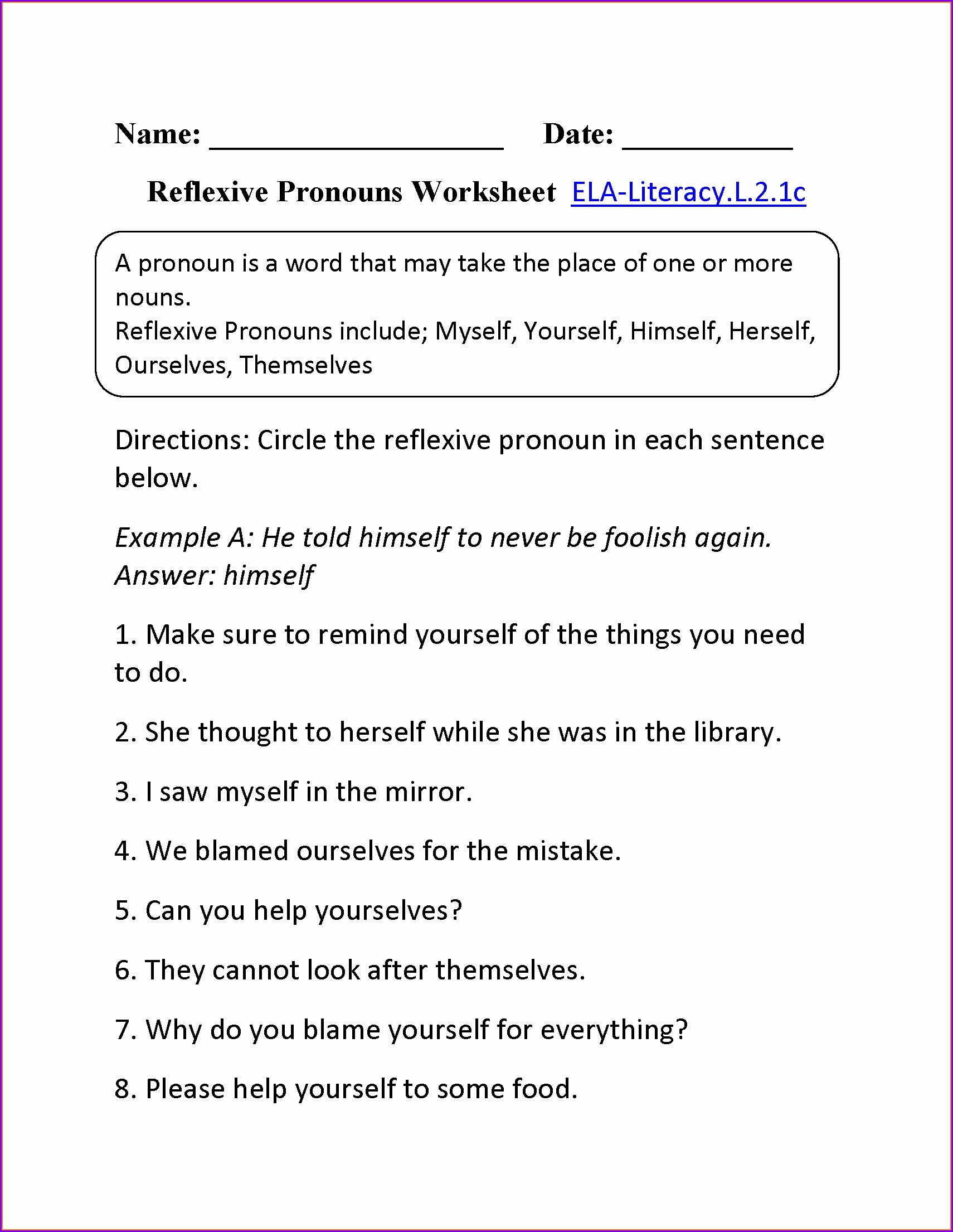 hight resolution of Reflexive Pronouns Worksheet   Printable Worksheets and Activities for  Teachers
