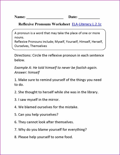 small resolution of Reflexive Pronouns Worksheet   Printable Worksheets and Activities for  Teachers