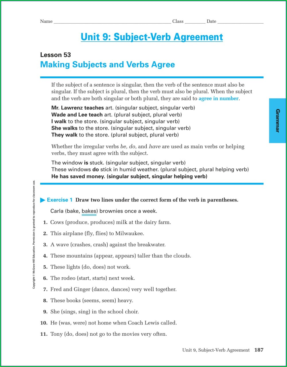 medium resolution of Subject Verb Agreement Exercises Class 7