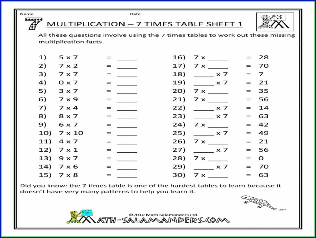 5 Times Table Practice Worksheets