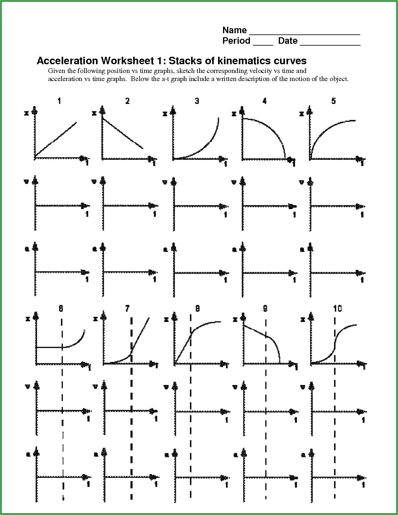 Middle School Distance Time Graphs Worksheet