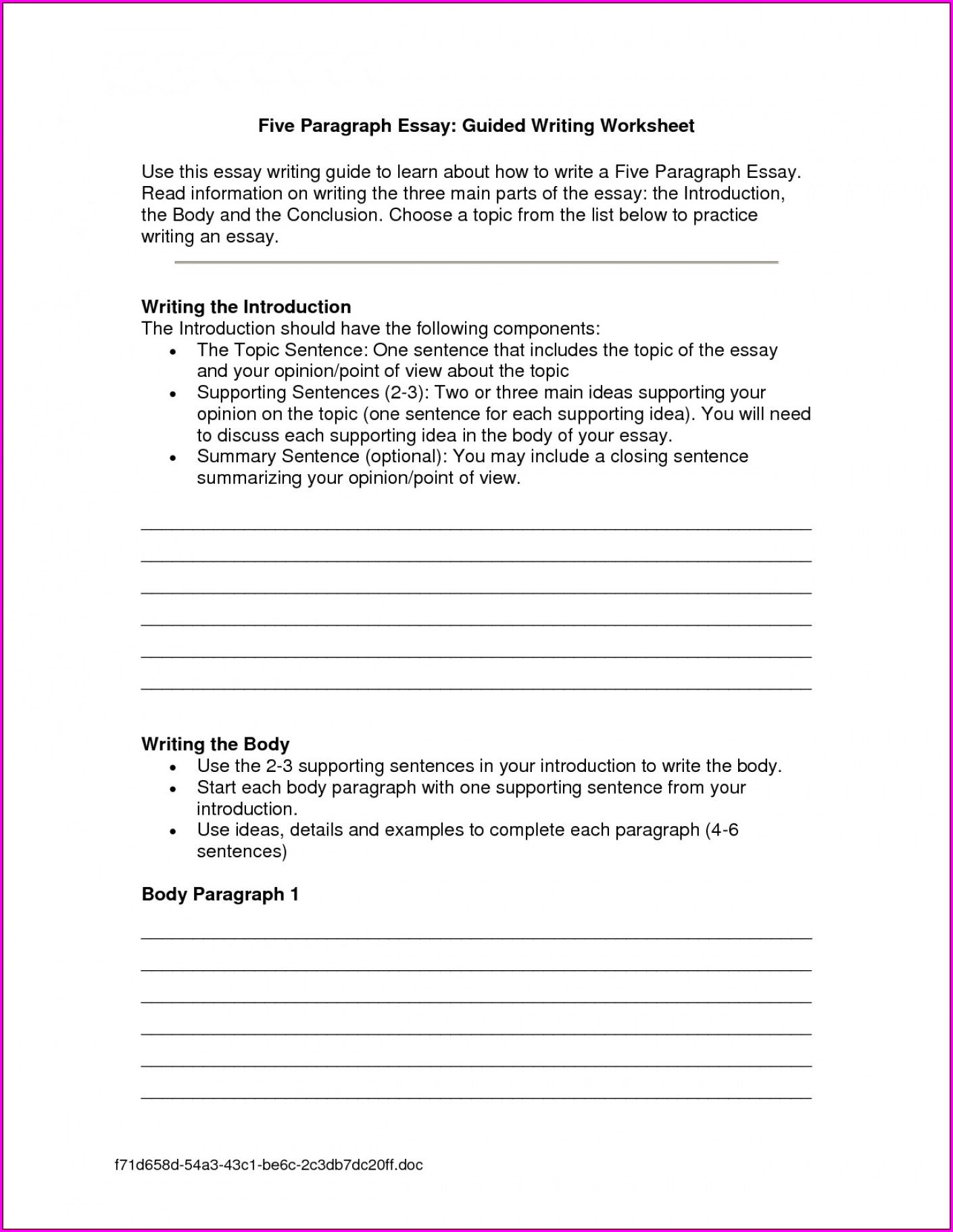 Writing Worksheet With Lines