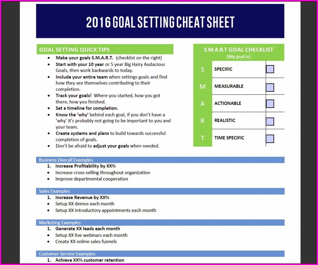 Yearly Sales Goal Setting Worksheet