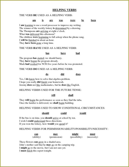 small resolution of Helping Verbs Worksheets 5th Grade   Printable Worksheets and Activities  for Teachers