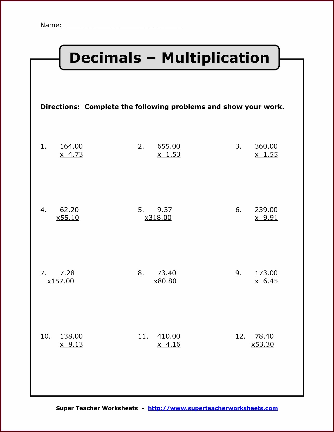 Free Printable Worksheets On Decimal Place Value