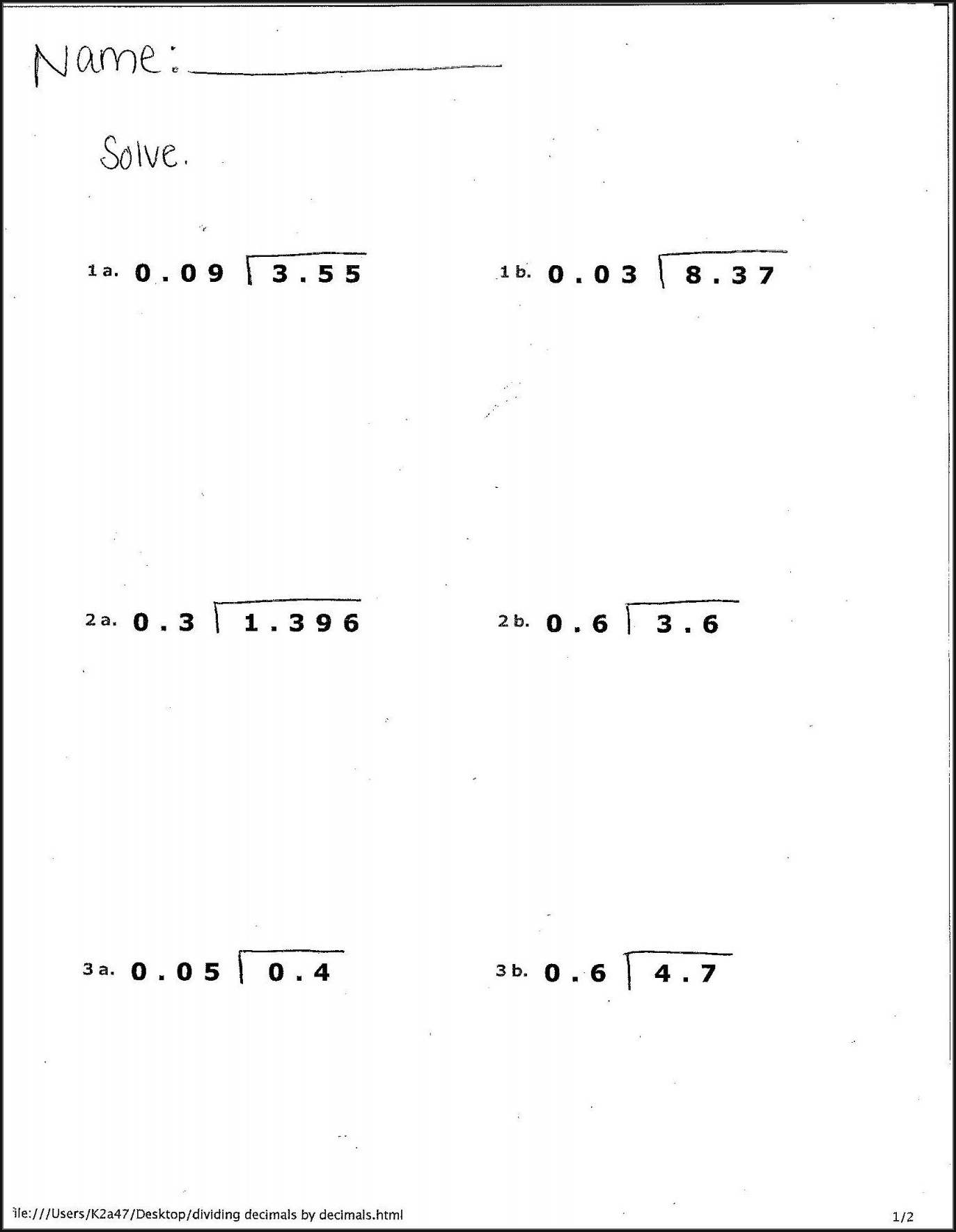 6th Grade Decimal Worksheets