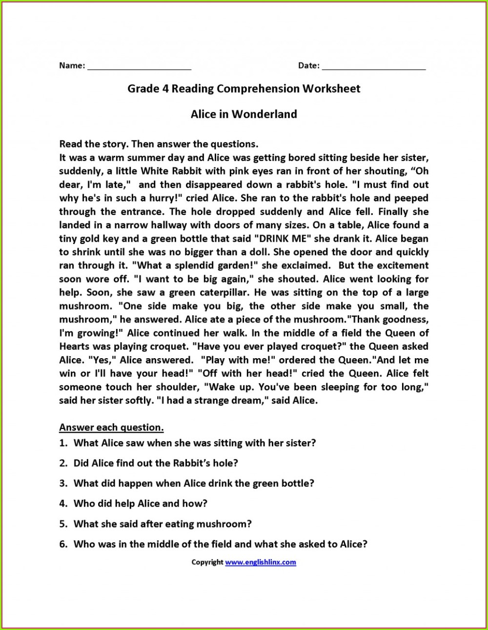 medium resolution of Reading Comp Worksheets 6th Grade   Printable Worksheets and Activities for  Teachers