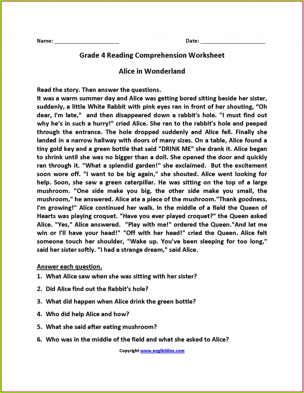 hight resolution of Reading Comp Worksheets 6th Grade   Printable Worksheets and Activities for  Teachers