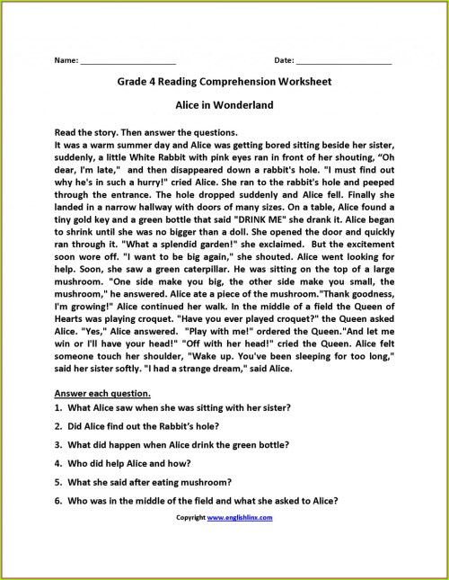 small resolution of Reading Comp Worksheets 6th Grade   Printable Worksheets and Activities for  Teachers