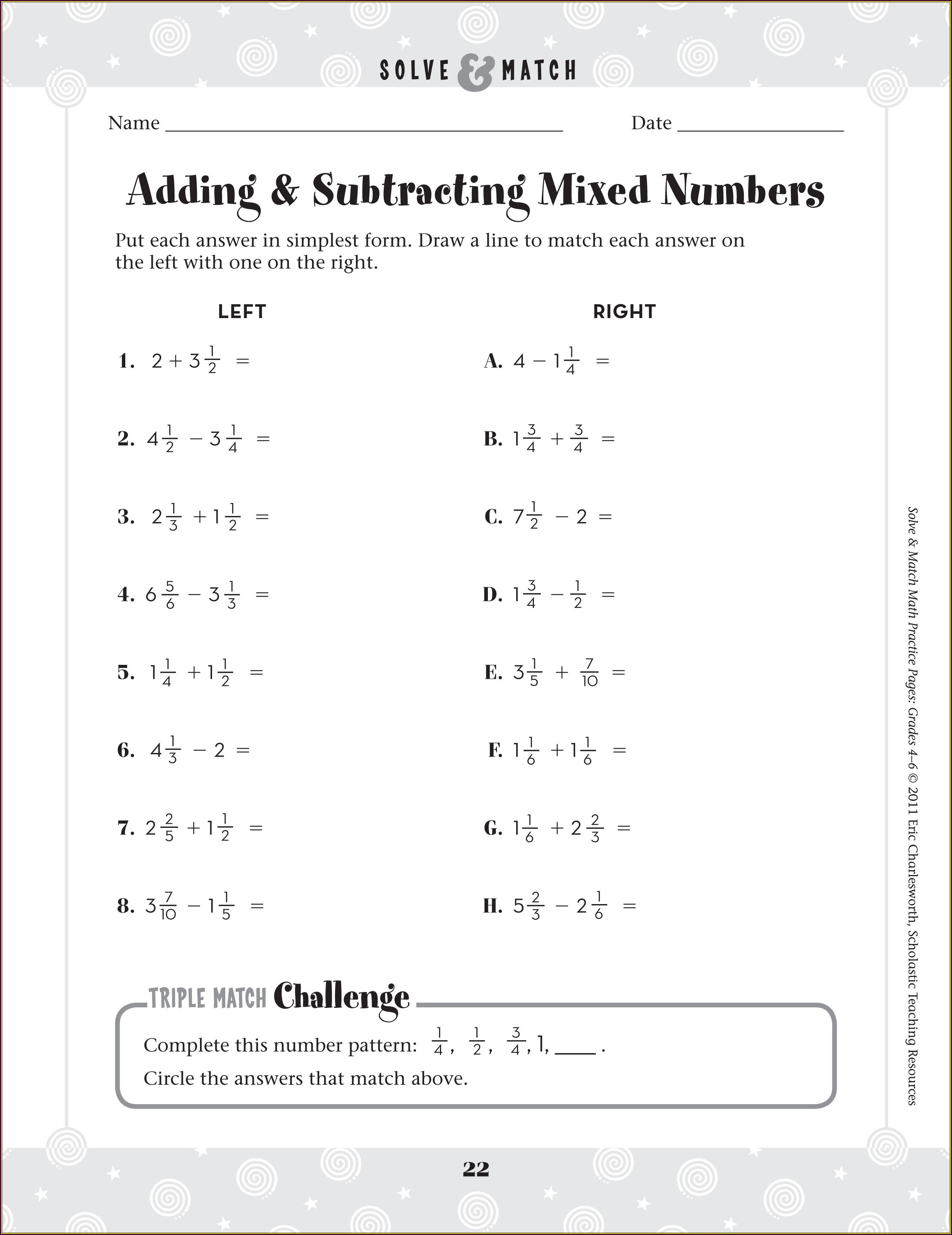 5th Grade Math Worksheets Adding And Subtracting Fractions