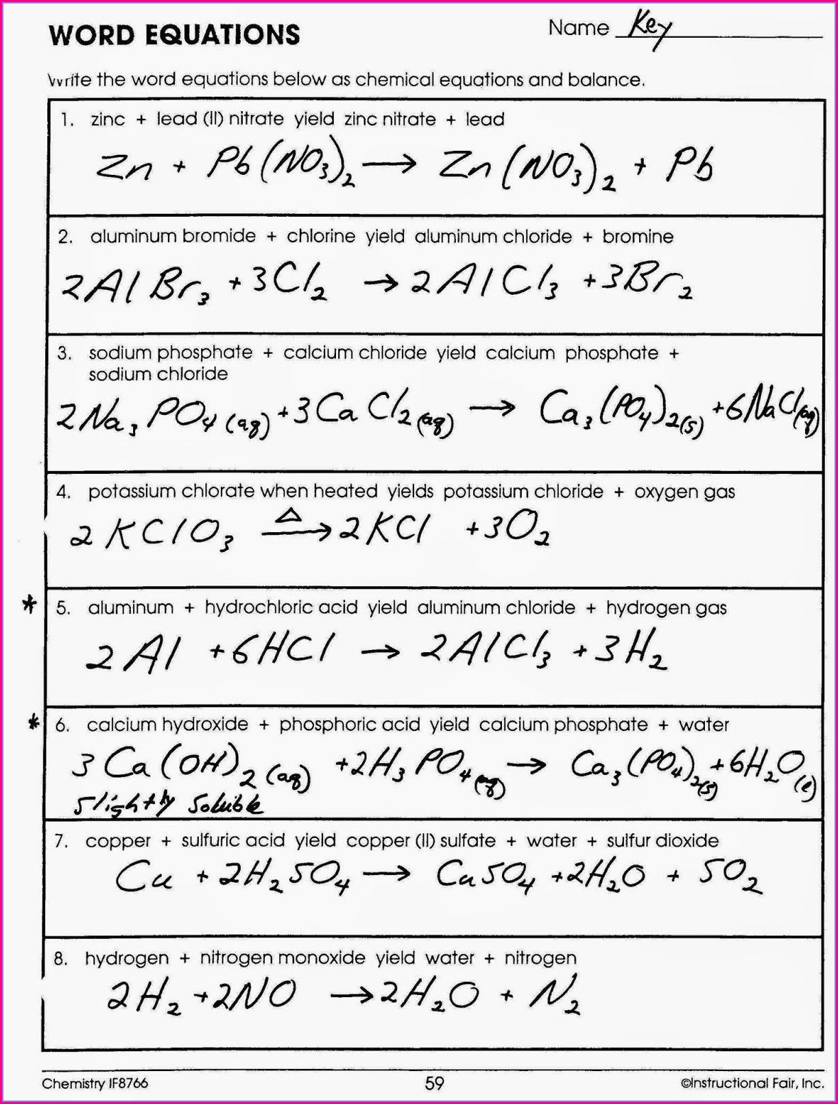 Chemical Word Equations 1 Worksheet Answers