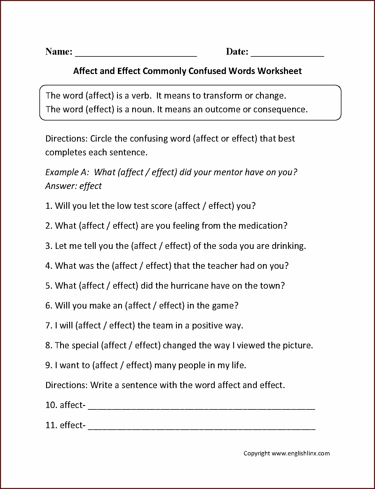 Moving Words Math Worksheet Answer Key