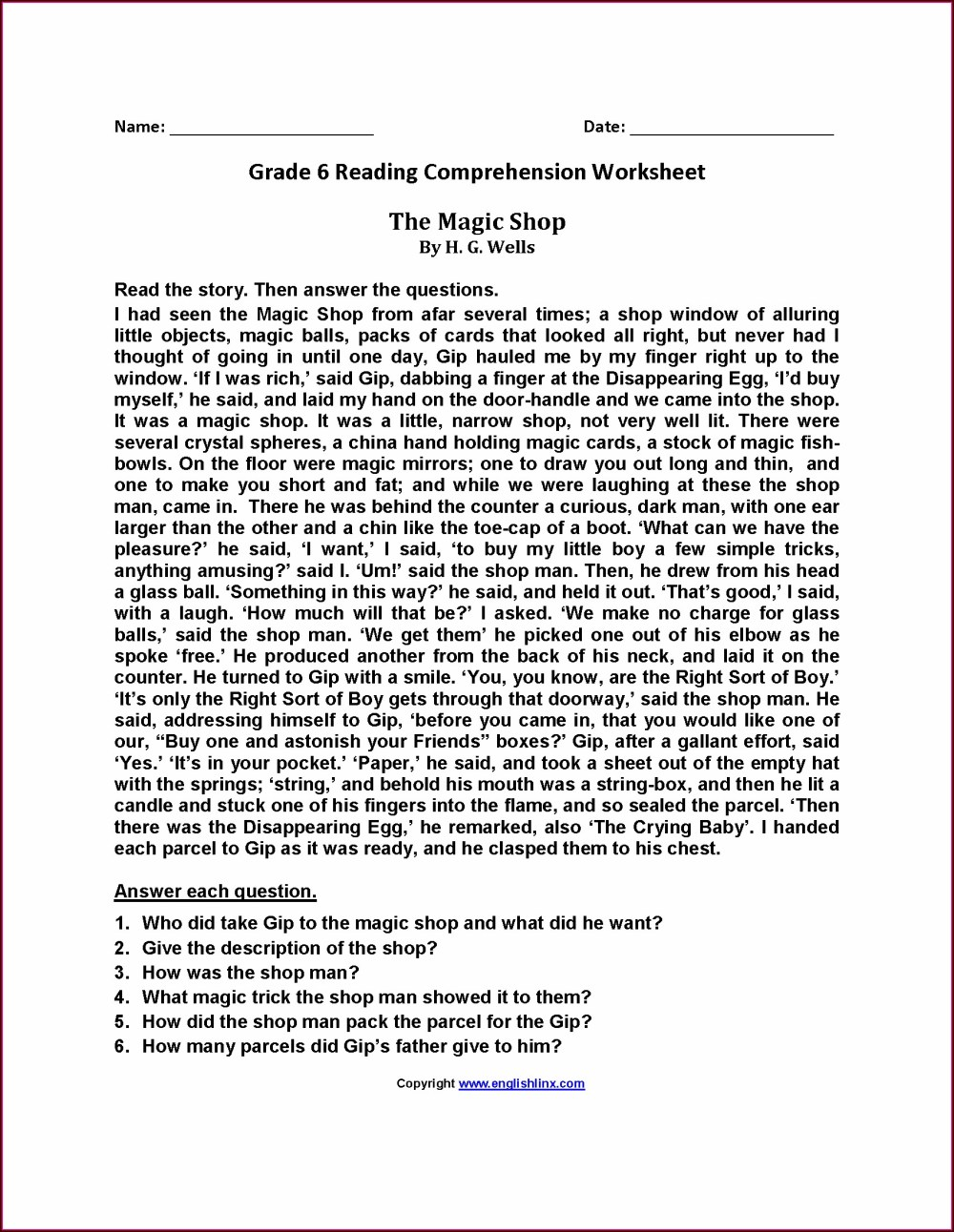 medium resolution of 6th Grade Reading Worksheets E Reading   Printable Worksheets and  Activities for Teachers