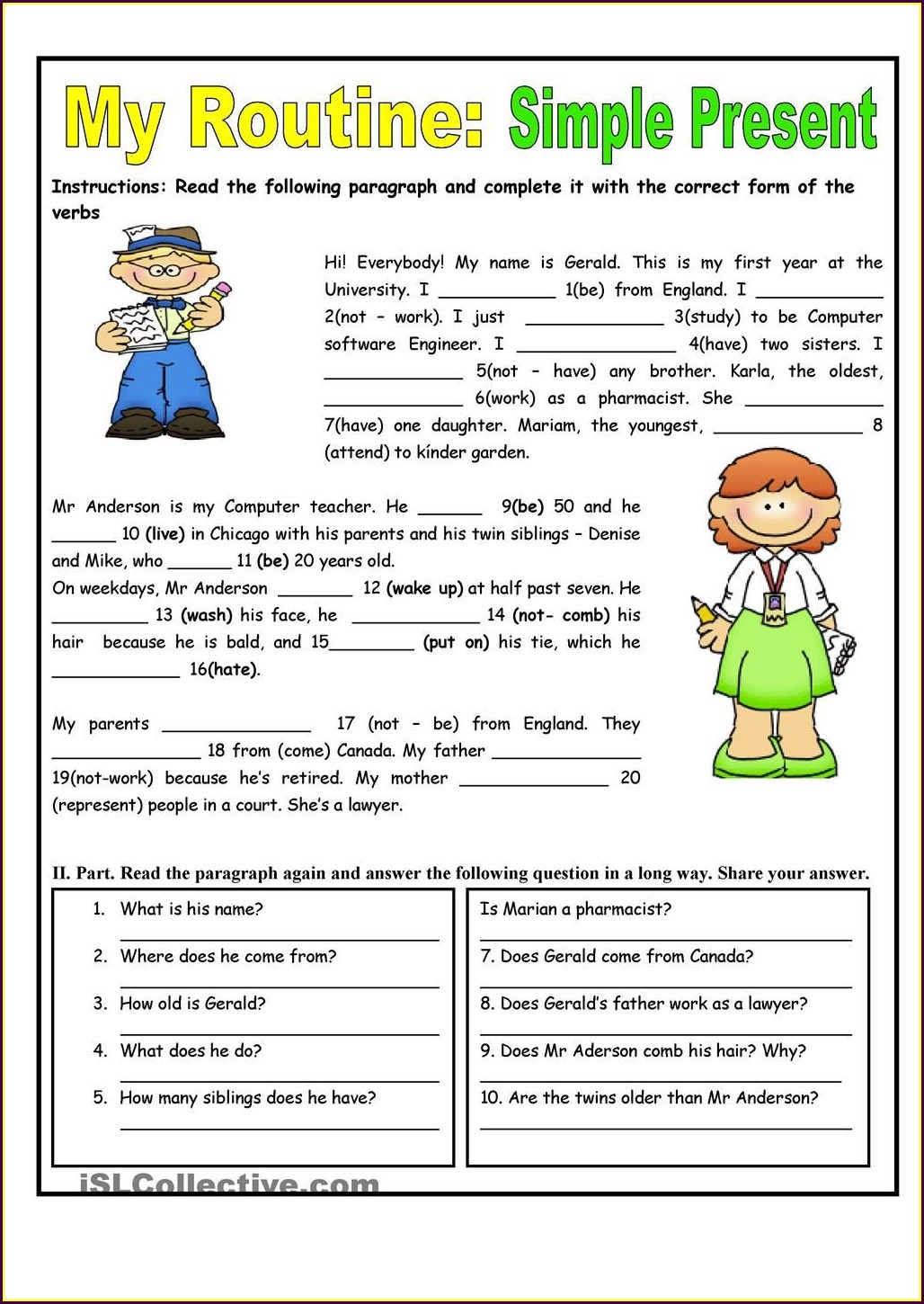hight resolution of 45+ Worksheets On Simple Present Tense For Grade 3 Background · Worksheet  Free For You