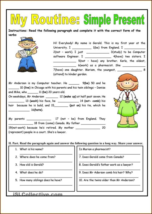 small resolution of 45+ Worksheets On Simple Present Tense For Grade 3 Background · Worksheet  Free For You