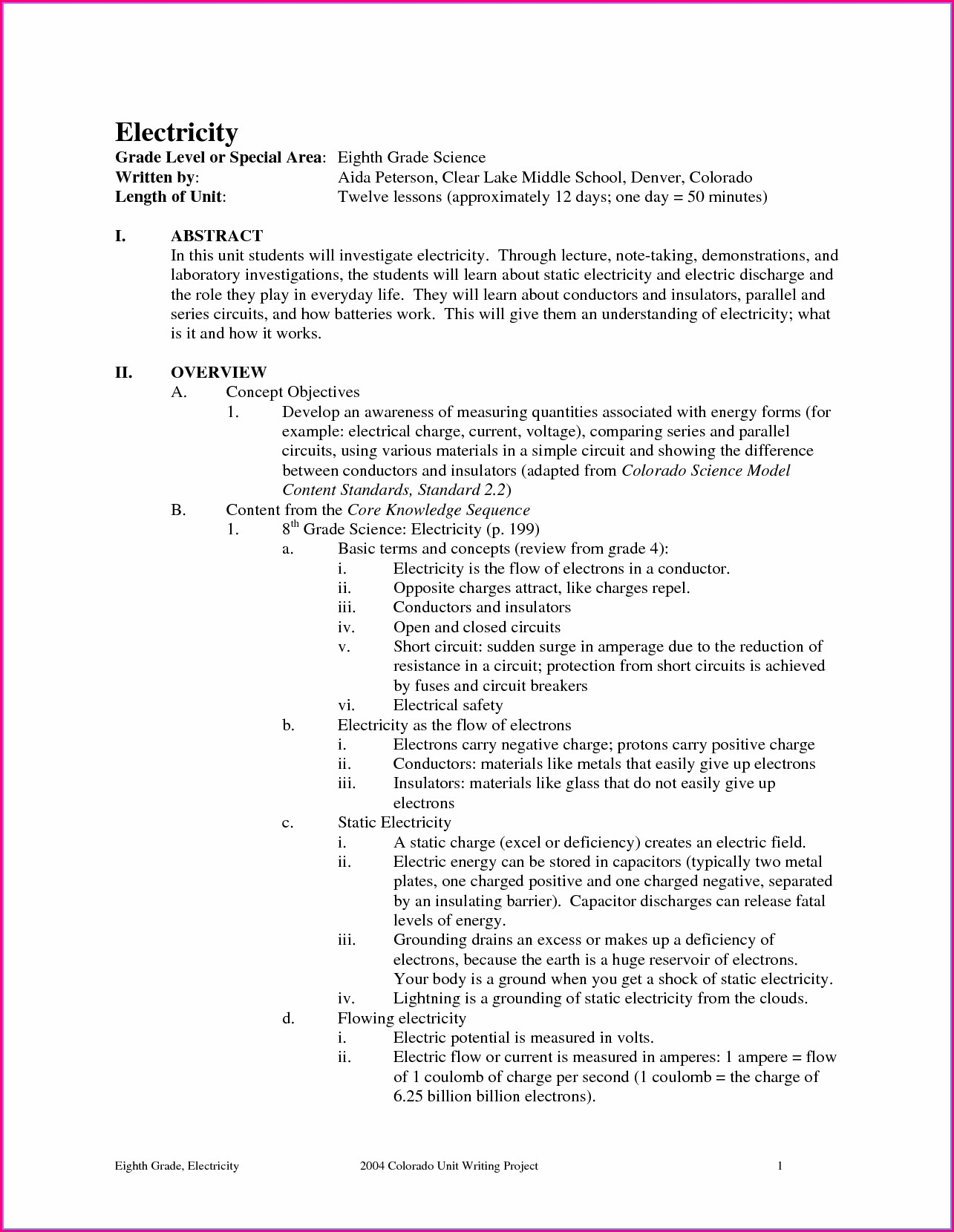 Grade 4 Science Worksheets Electricity