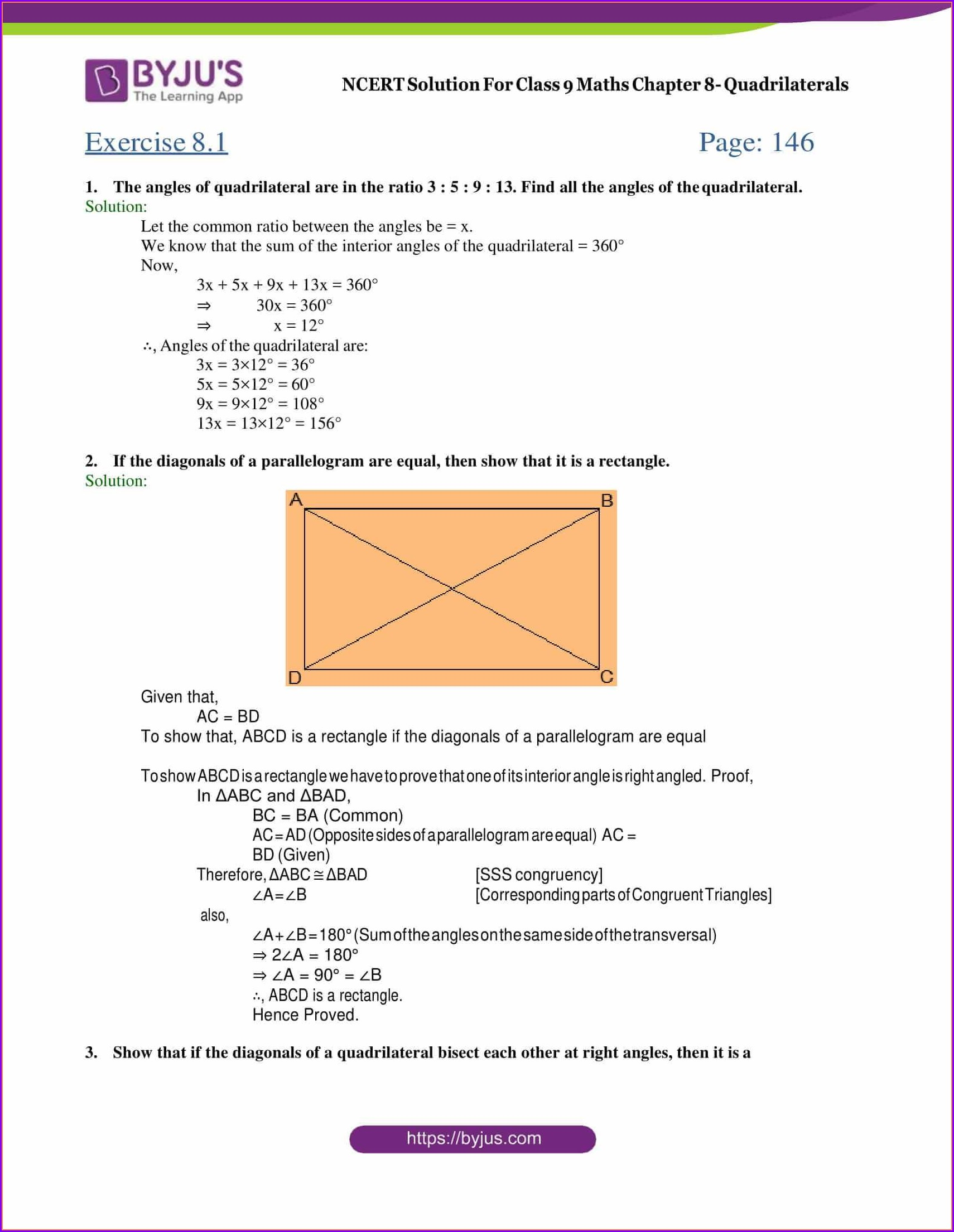 hight resolution of Worksheet On Quadrilaterals For Class 9   Printable Worksheets and  Activities for Teachers
