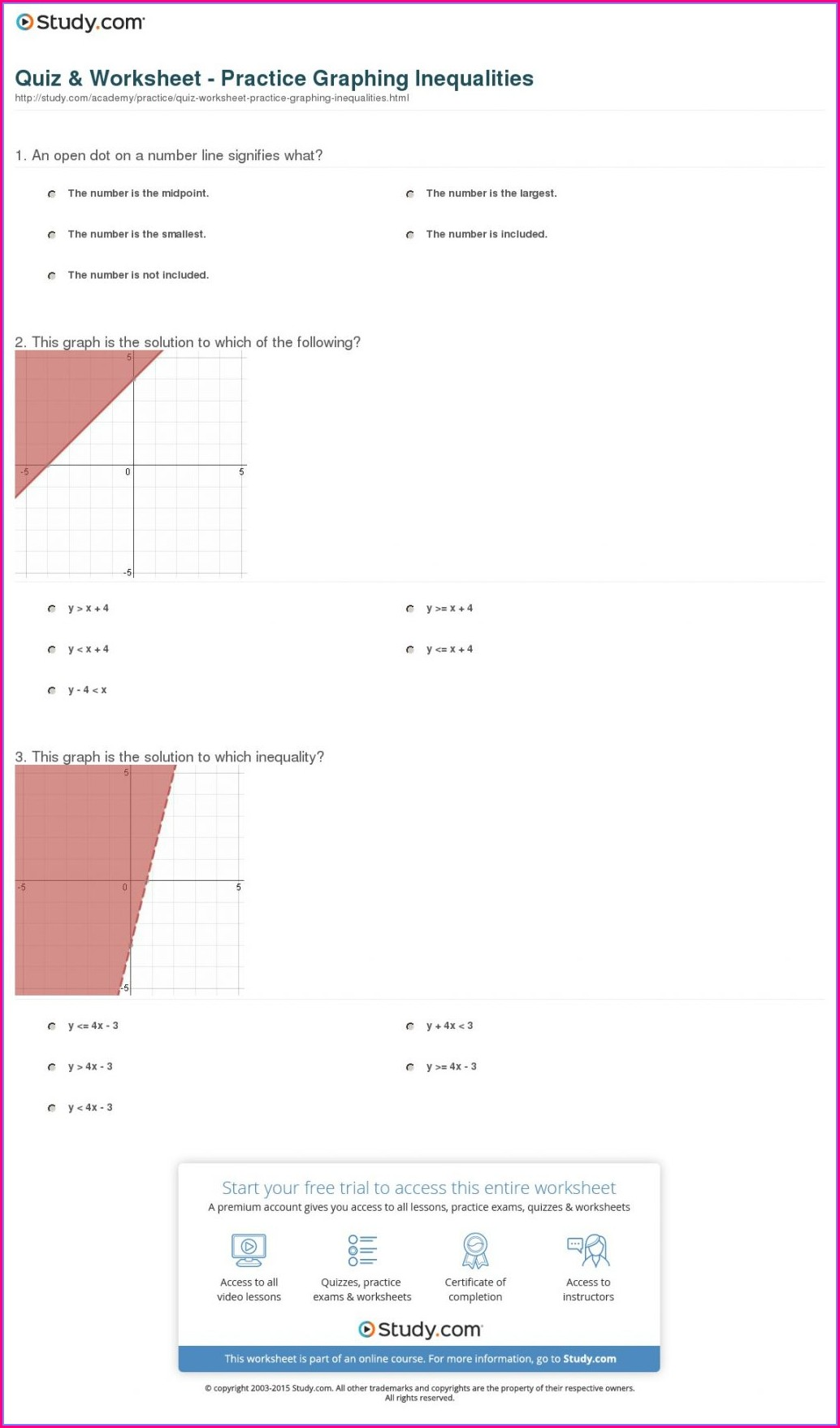 Graphing Inequalities Number Line Worksheet