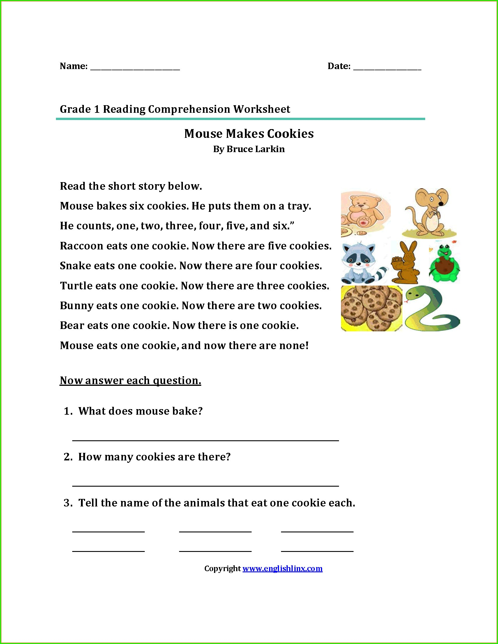 Reading Comprehension Beginner Reading Worksheets For