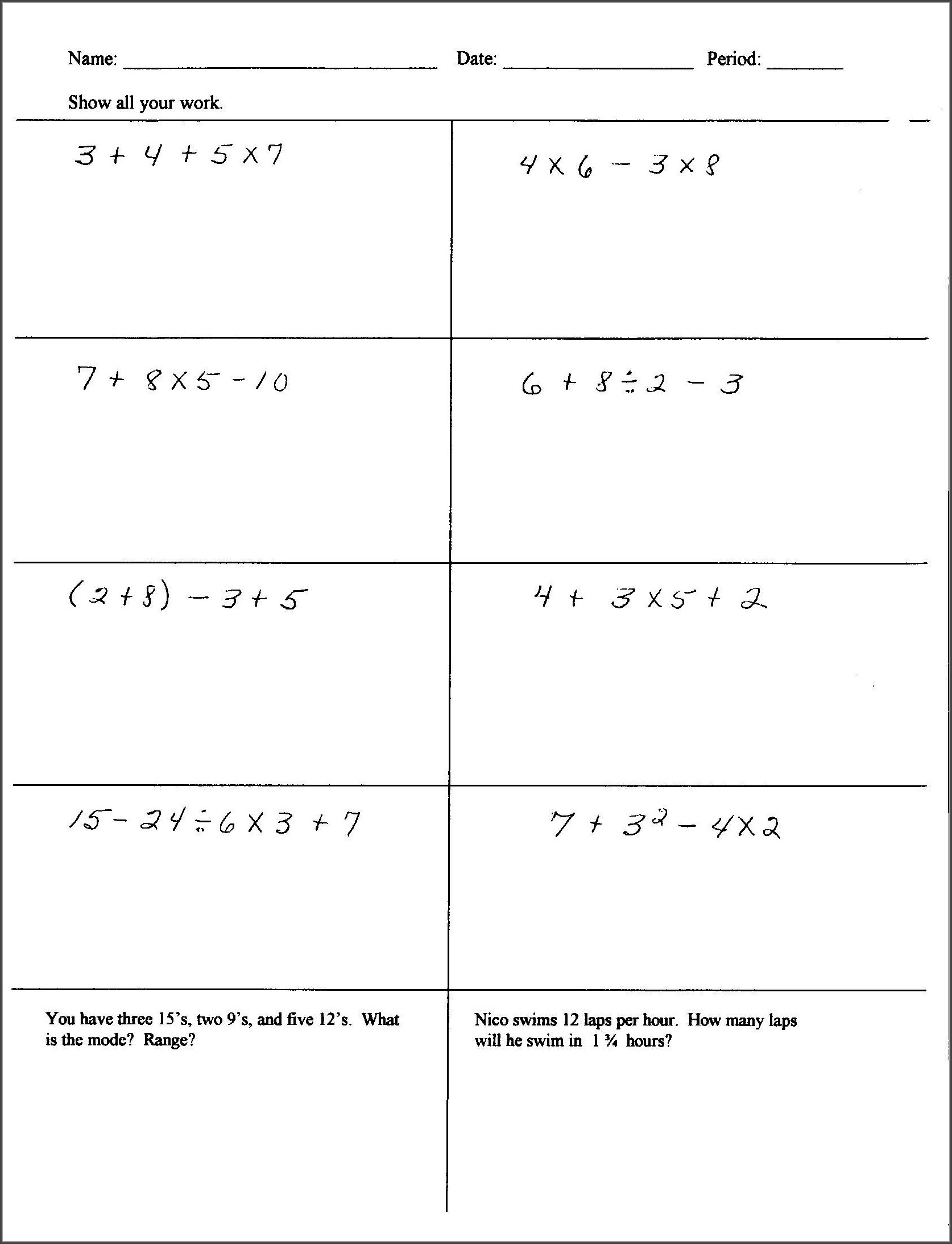 Printable Integers Worksheet Grade 6