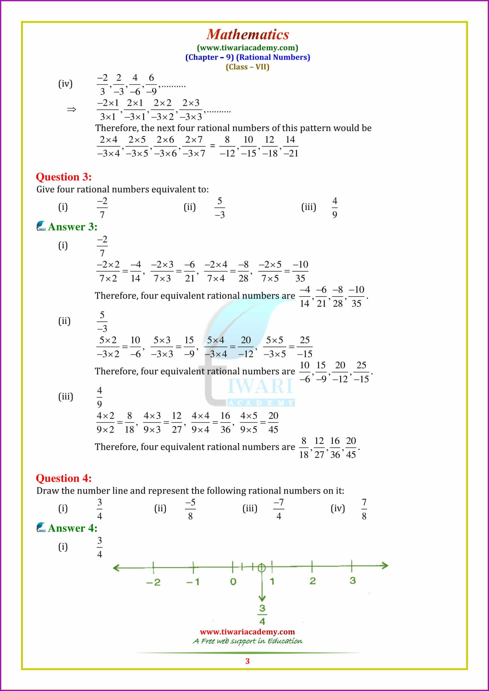 Estimating Rational Numbers Worksheet