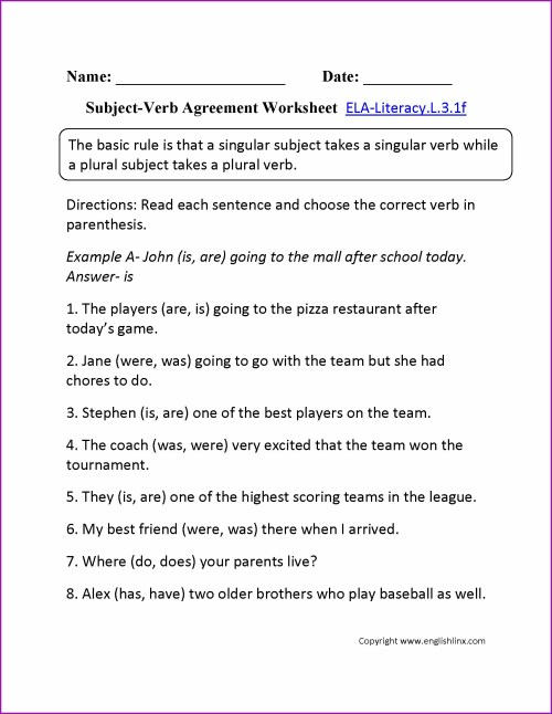 small resolution of Verb Agreement Worksheet   Printable Worksheets and Activities for  Teachers