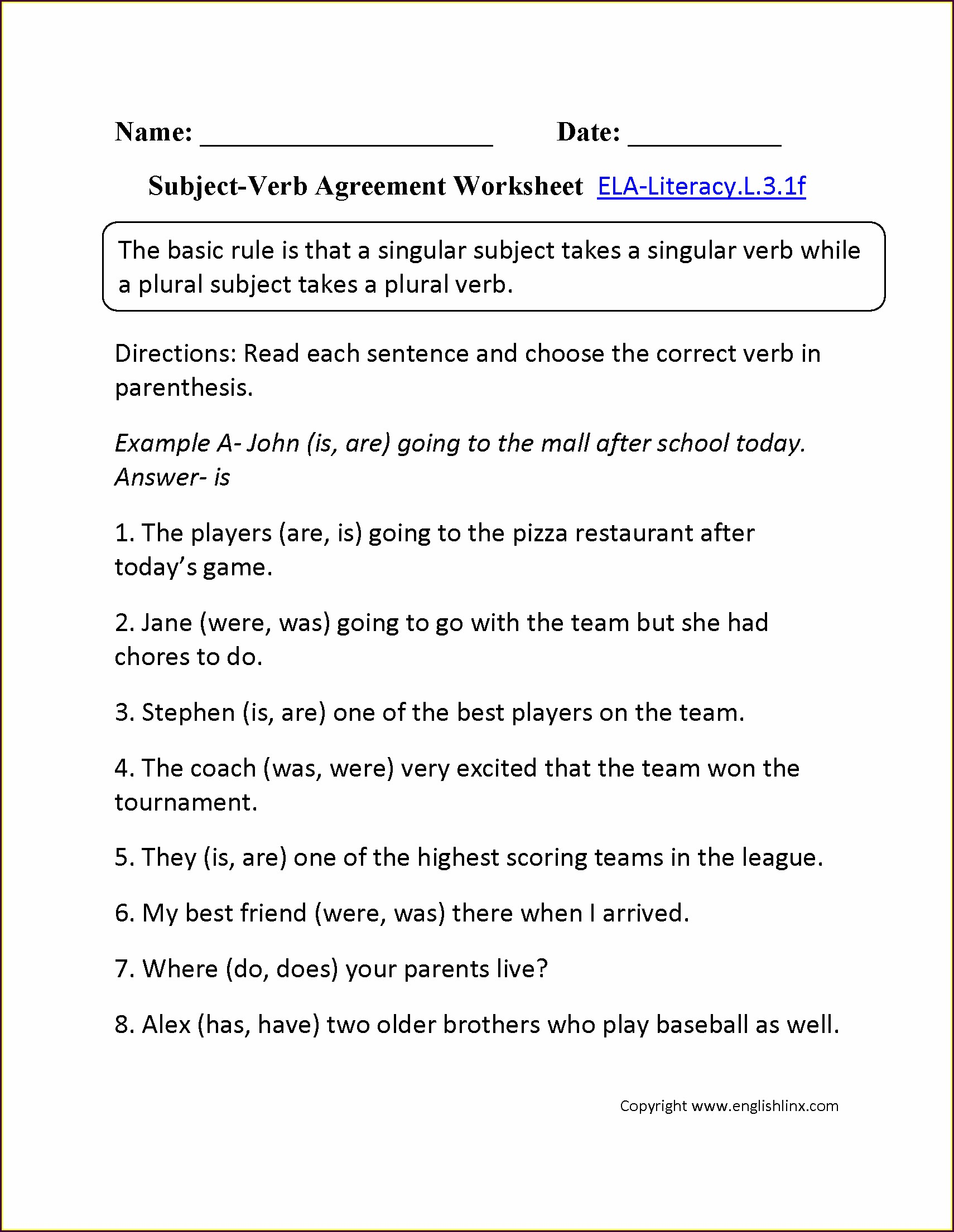 Subject Verb Agreement Worksheet 6th Grade