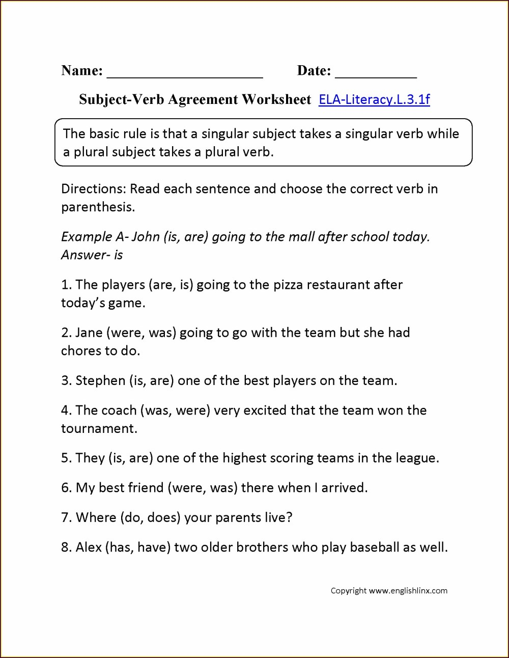 medium resolution of Subject Verb Agreement Third Grade Worksheets   Printable Worksheets and  Activities for Teachers