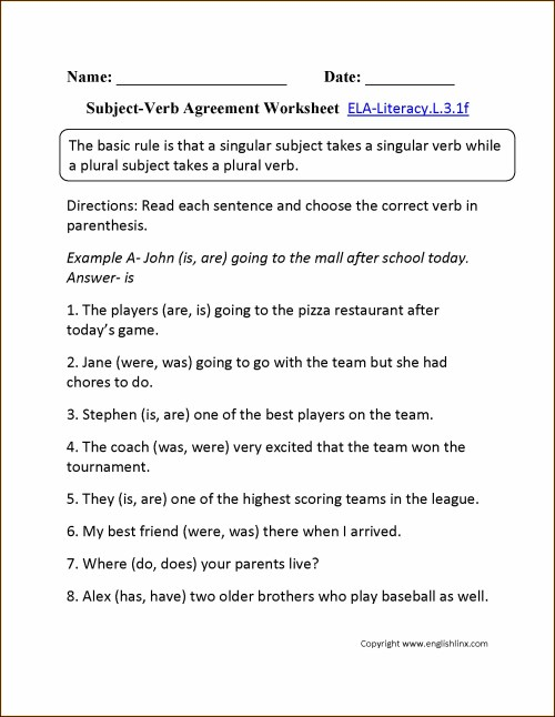small resolution of Subject Verb Agreement Third Grade Worksheets   Printable Worksheets and  Activities for Teachers
