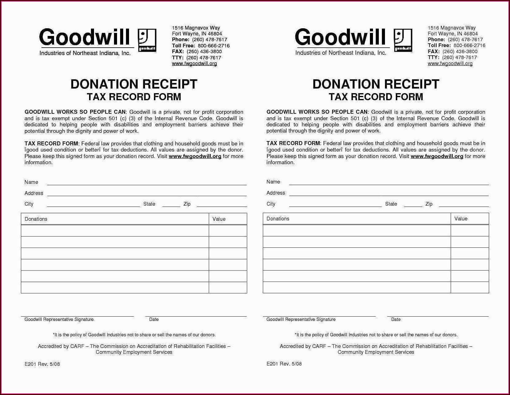Tax Deduction Worksheet For Donated Clothing