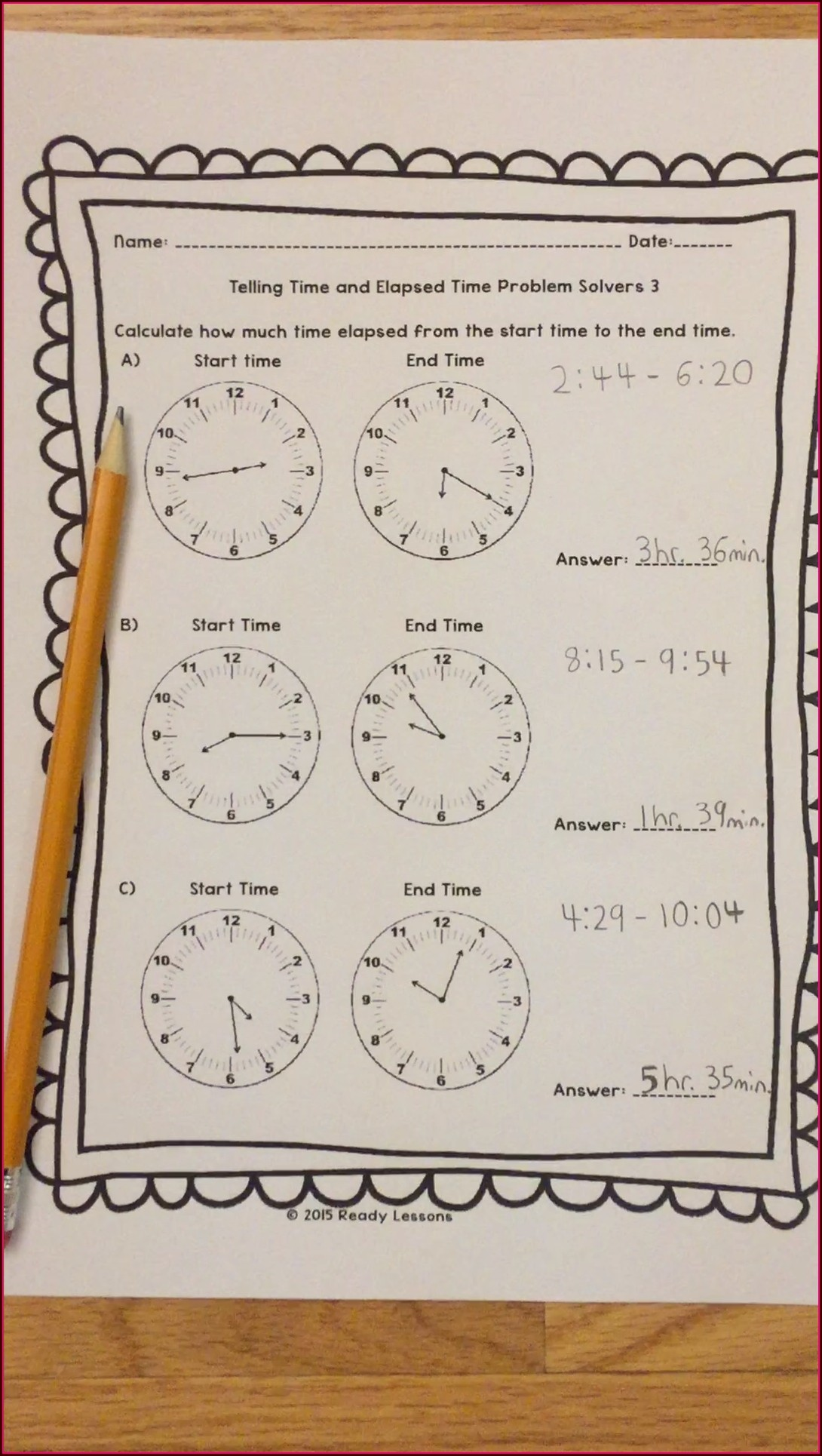 8th Grade Minute Math Worksheets Answer Key