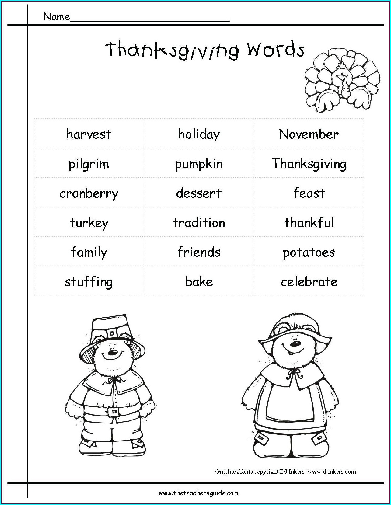 Thanksgiving Meal Math Worksheet