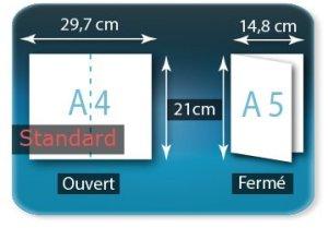 Dépliants / Plaquettes ouvert A4 297x210mm - fermé A5 148x210mm 1 pli