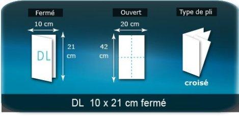 Dépliants / Plaquettes ouvert 420x210 mm - fermé 100x210 mm plié 3 plis 4 volets type de pliage croisé