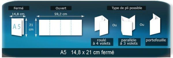 Dépliants / Plaquettes ouvert 592x210mm - fermé 148x210 mm plié 3 plis 4 volets type de pliage roulé ou accordéon en Z