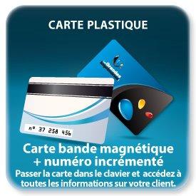 Carte de fidelite plastique Quadri R+ 1 coul noir V+ bande (piste) magnétiques