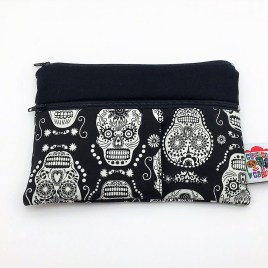 Trousse double zip têtes de mort mexicaines phosphorescentes