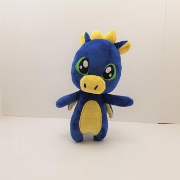 Peluche dragon bleu et jaune