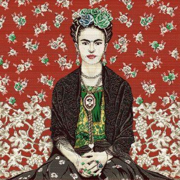 Coussin Frida Kahlo fond rouge