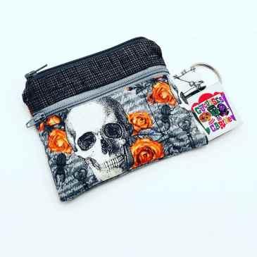 Porte monnaie double zip têtes de mort Halloween