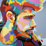 visage d'homme pop art peint par Jair Herculano